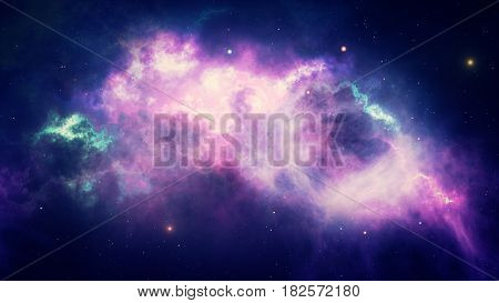 Beautiful Space, Glowing Stars And Nebulae, Galaxies