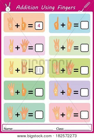 addition using fingers, add and writing, math worksheet