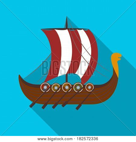 Viking's ship icon in flate design isolated on white background. Vikings symbol stock vector illustration.