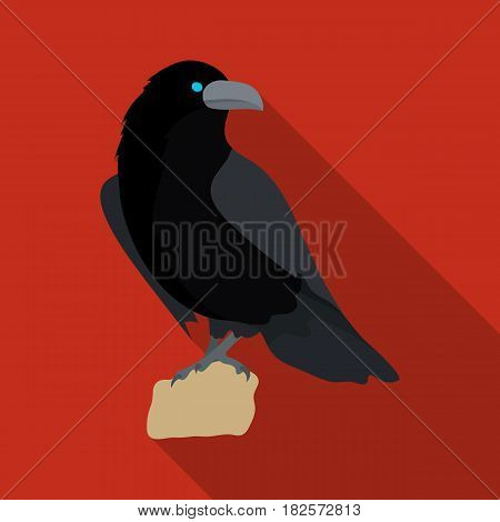 Crow of viking god icon in flate design isolated on white background. Vikings symbol stock vector illustration.