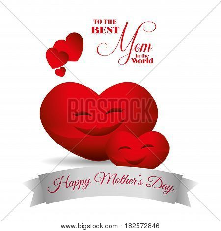 cute red hearts hapy mothers day best mom card vector illustration eps 10