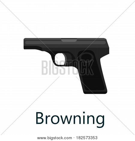 military gun browning, automatic and hand weapon in magazine barrel with bullets for protection shoting or war, handgun for hunting equipment, ammunition background isolated vector illustration