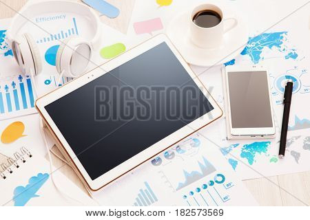 Modern electronic devices white color. Compatible devices