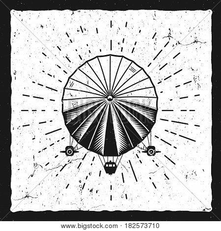 Vintage airship background. Retro Dirigible balloon grunge poster template. Steampunk design. Steam punk old sketching style. Use as brochure, poster for web design or tee design, t-shirt print.