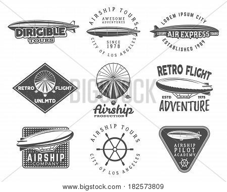 Vintage airship logo designs set. Retro Dirigible badges collection. Airplane Label design. Old sketching style. Use as fly logos, labels, stamps, patches for web design or tee design, t-shirt.