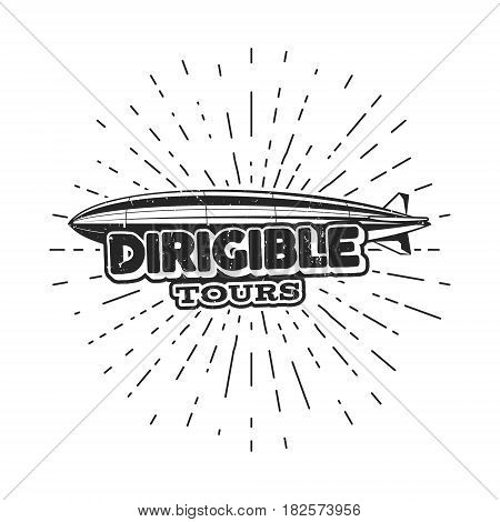Vintage airship logo design. Retro Dirigible badge, poster. Airplane Label design. Old sketching style. Use as fly logo, label, stamp, patch for web design or tee design, t-shirt.