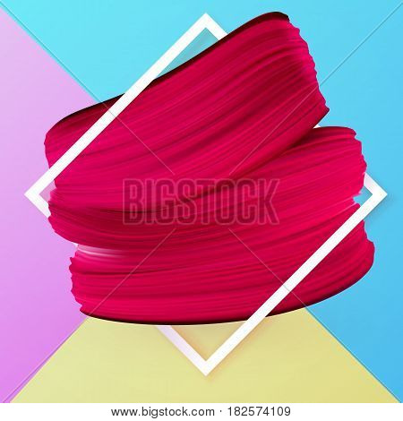 Design spring-summer banner with blue pink and yellow background. Promotion offer with red lipstick mark in frame. Cosmetics makeup fashion girly banner. Vector Illustration used in the newsletter brochures poster flyer advertisements vouchers.