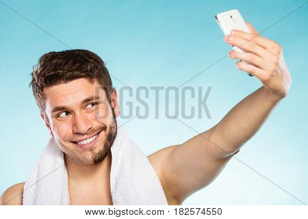 Happy Half Shaved Man Taking Selfie Self Photo.