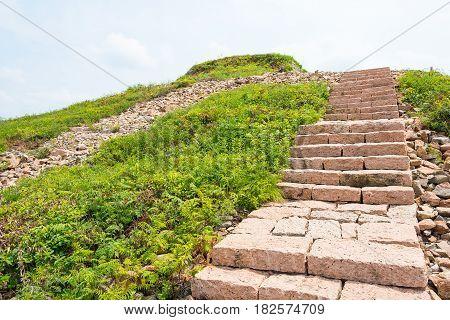 Jilin, China - Jul 27 2015: King Gwanggaeto Tomb(king Haotai Tomb) Of Unesco World Heritage Site. A