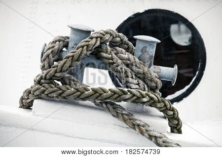 Mooring Bollard With Rope Mounted On Ship Deck