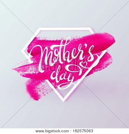 Happy Mother Day Spring holiday vector background. Super mom diamond shape lipstick pink mark texture. Vector illustration