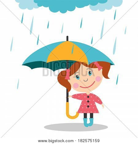 Girl with umbrella standing under the rain. Vector Illustration