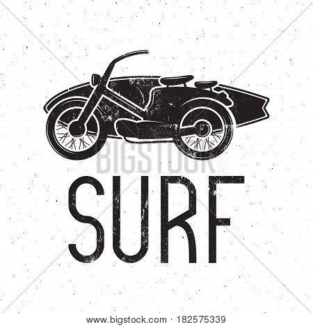 Vintage Surfing tee design. Retro Surf fest t-shirt Graphics and Emblem for web design or print. Surfer motorcycle logo design. Hipster Badge. Surfboard seal. Monochrome