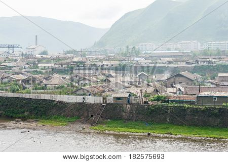 Jilin, China - Jul 26 2015: Hyesan City Of North Korea View From Changbai Town Of China. The Town Of