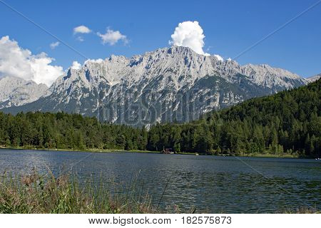 View to The Wilder Kaiser from Lautersee