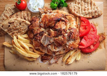 Greek Gyros Dish On Baking Paper - Top View
