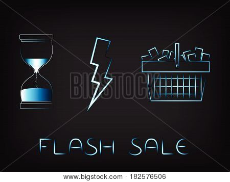 Shopping Basket Next To Hourglass And Lightning Bolt Vector