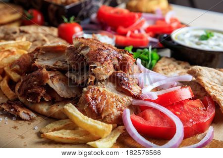 Greek Gyros Dish On Baking Paper