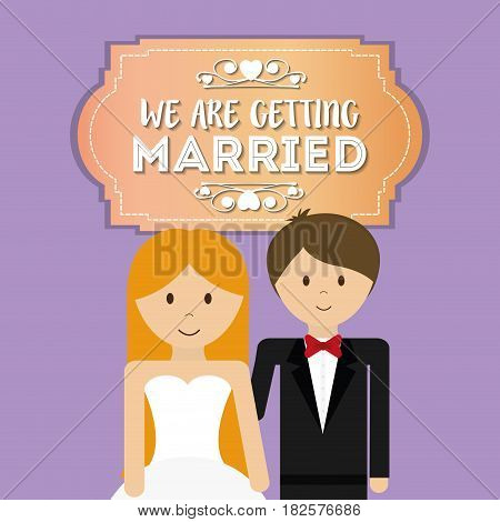 we are greeting married cute couple vector illustration eps 10