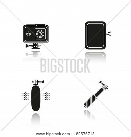 Action camera drop shadow black icons set. Floating grip, gadget protective case, monopod. Isolated vector illustrations