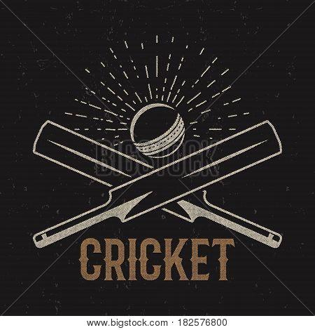 Retro cricket club emblem design. Cricket logo icon design. Cricket badge. Sports logo symbols with cricket gear, equipment. Cricket tee design. Tee shirt emblem. T-Shirt prints retro style