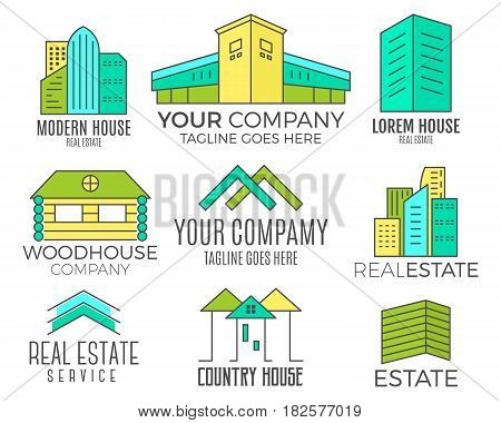 Set of house logo designs, real estate icon suitable for info graphics, websites and print media. , flat icon, badges, labels, clip art. Lineart style. Thin line design. Color design.