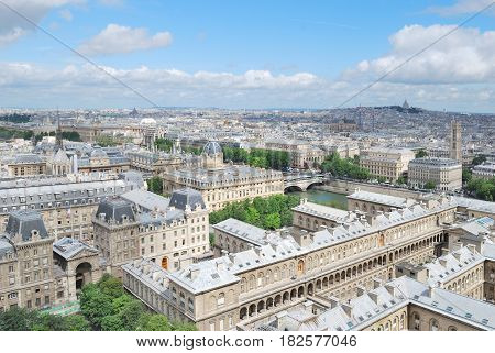 Top-view of Paris in a sunny summer day