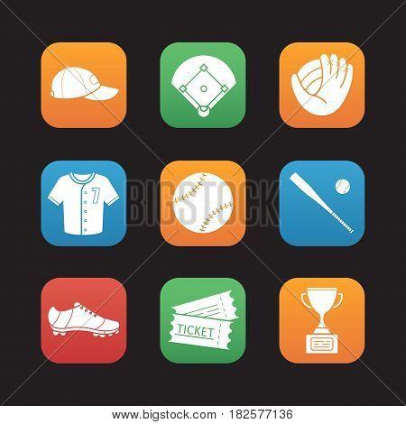 Baseball accessories flat design icons set. Cap, field, mitt, shirt, ball, bat, shoe, tickets, winner's award. Softball player's kit. Web application interface. Vector illustrations