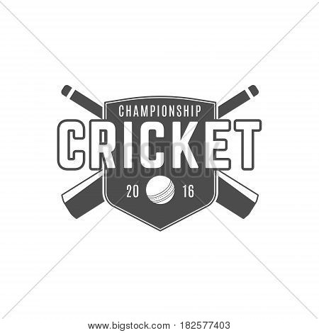 Cricket team emblem and design elements. championship logo . club badge. Sports symbols with gear - bats, ball. Use for web , tee or print on t-shirt.