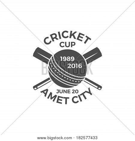 Cricket cup emblem and design elements. tournament logo . stamp. Sports symbols with gear, equipment. Use for web , tee or print on t-shirt. Monochrome.