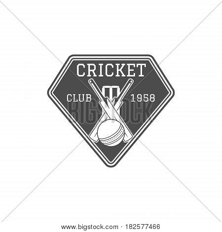 Cricket club emblem and design elements. team logo . stamp. Sports fun symbols with equipment - bats, ball. Use for web , tee or print on t-shirt. Monochrome.