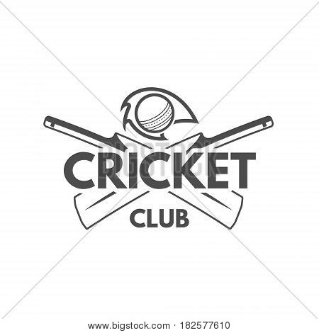 Cricket team emblem and design elements. Cricket championship logo design. Cricket club badge. Sports symbols with cricket gear, equipment. Use for web or tee design or print them.