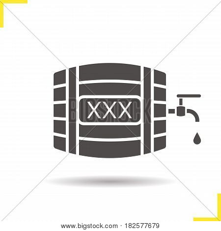 Alcohol wooden barrel glyph icon. Drop shadow silhouette symbol. Whiskey or rum barrel with tap, drop and xxx sign. Negative space. Vector isolated illustration