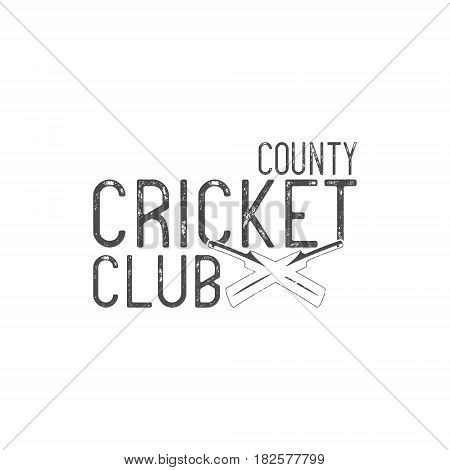 Cricket county club emblem and design elements. Cricket logo design. Cricket club badge. Sports elements with cricket gear, equipment. Use for web or tee design or t-shirt print.