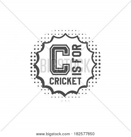 Cricket monogram emblem and design elements. Cricket logo design in pop art style. Cricket club badge. Sports sticker. Monochrome dotted background. Use for web or tee design print on t-shirt.