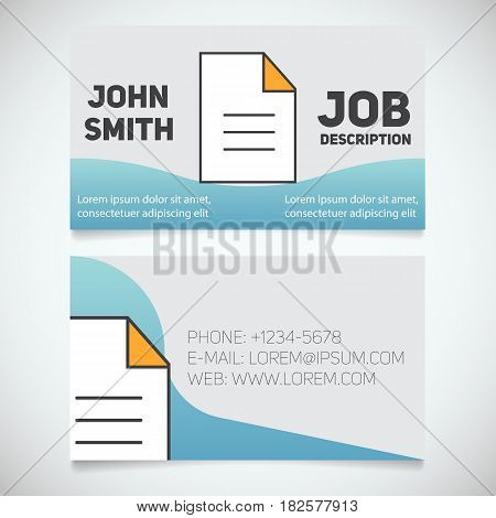 Business card print template with document logo. Editor. Writer. Stationery design concept. Vector illustration
