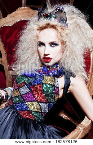 Glamorous Woman Fashion Model at the club
