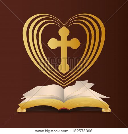 bible heart cross religion wedding vector illustration eps 10