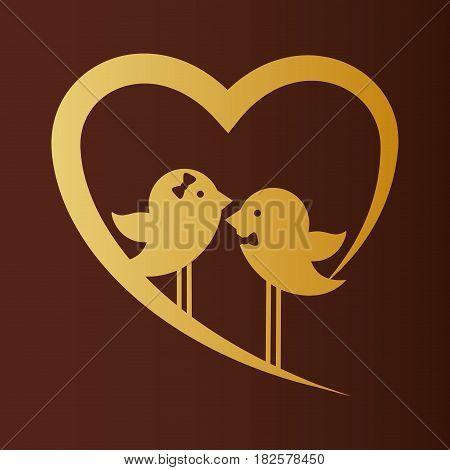 bird couple married gold heart card vector illustration eps 10