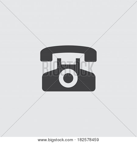 Telephone icon in a flat design in black color. Vector illustration eps10