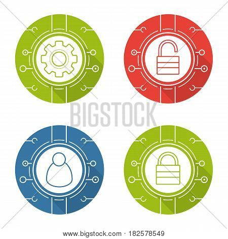 Cyber security flat design long shadow icons set. Access denied, network admin, settings, access granted. Digital symbols. Vector silhouette illustration