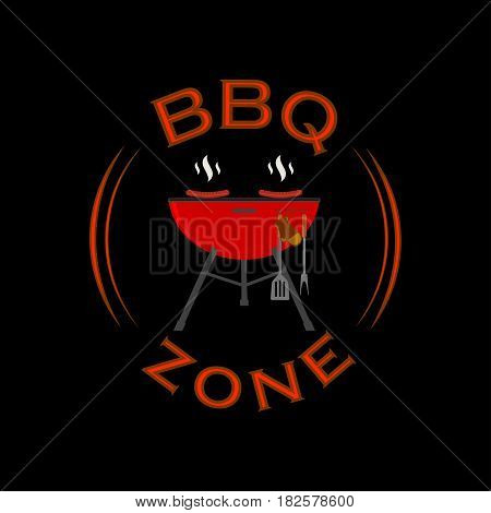 Barbecue zone sign. BBQ rest area background. Vector illustration.