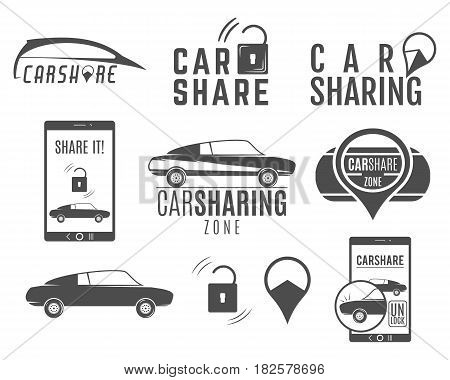 Car share logo designs set. Car Sharing concepts. Collective usage of cars via web application. Carsharing icons, elements and symbols collection. Use for webdesign or print.