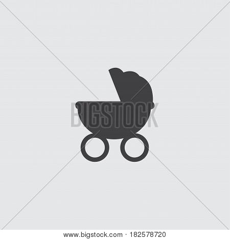 Stroller icon in a flat design in black color. Vector illustration eps10
