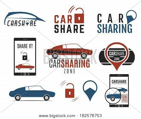 Car share logo designs set. Car Sharing concepts. Collective usage of cars via web application. Carsharing icons, elements and symbols collection. Use for webdesign or print. Color palette.