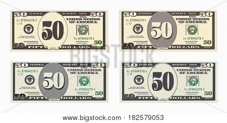 USA banking currency, cash symbol 50 dollars bill. Money set, paper banknotes fifty dollars. Vector illustration in simple, flat style in four variants. Isolated on white background. Horizontal.