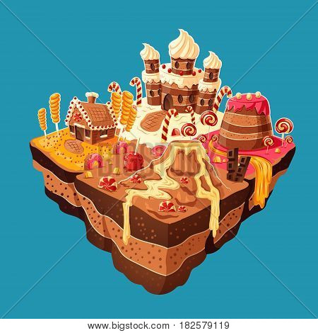 Vector 3D isometric illustration of sweet island with mountains, rivers and waterfall of cakes, cream, chocolate, caramel. Elements of design for games