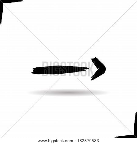 Right arrow icon. Drop shadow brush stroke direction symbol. Vector isolated illustration