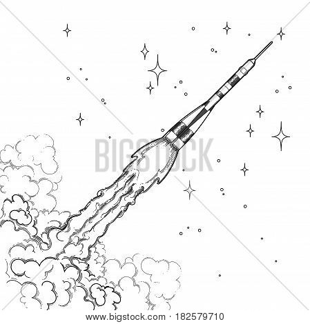 Graphic rocket launching in the starry skies with huge cloud of smoke. Vector astronomical art isolated on white background. Coloring book page design for adults and kids