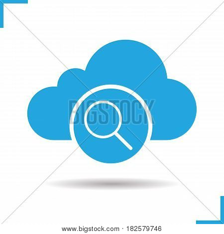 Cloud storage search glyph icon. Drop shadow silhouette symbol. Cloud computing. Negative space. Vector isolated illustration